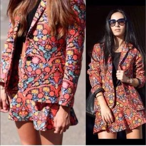 Rare Zara Woman Floral Blazer Sz XSl